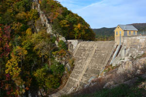 Carvins Cove Dam in the fall