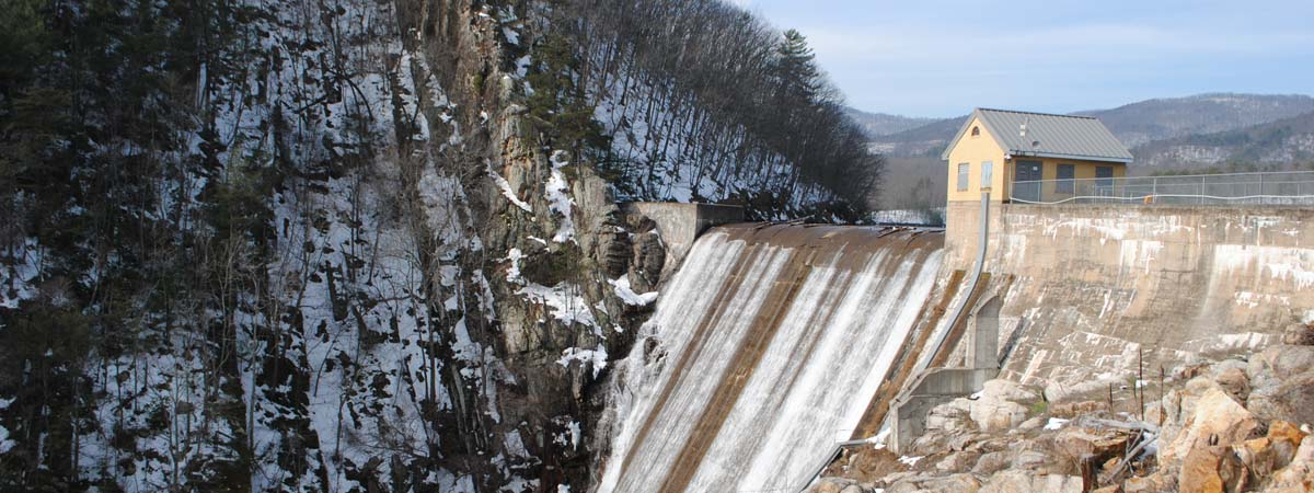 Carvins Cove Dam winter
