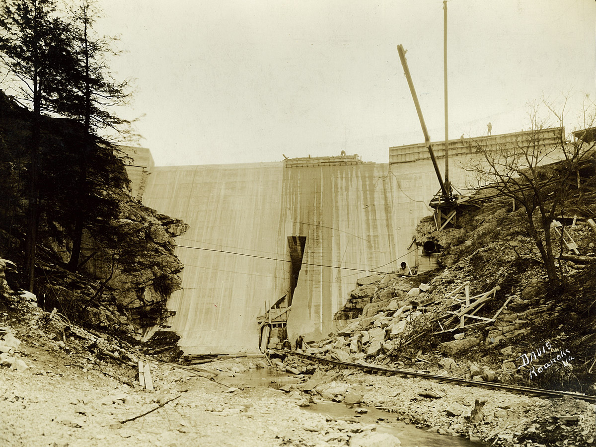 Carvins Cove Dam downstream side 12-19-1927