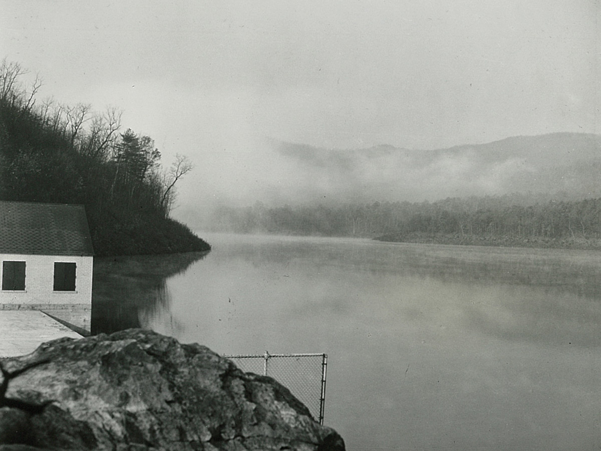 Carvins Cove Dam looking over reservoir 1945
